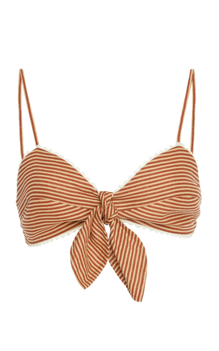 MIGUELINA | Miguelina Tilly Striped Linen Bralette | Goxip