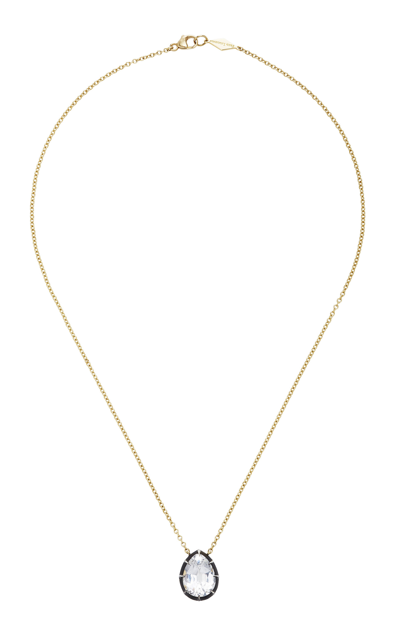 FRED LEIGHTON PEAR SHAPE WHITE TOPAZ COLLET PEANDANT NECKLACE