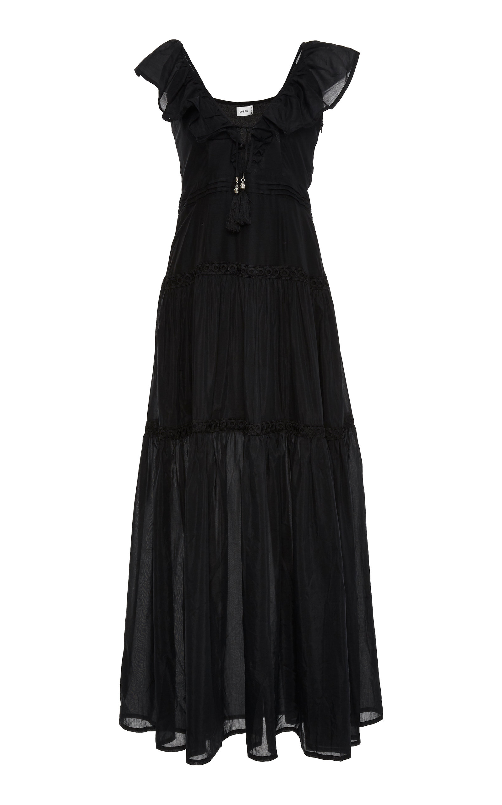 Suboo SALINO SILK RUFFLED MAXI DRESS