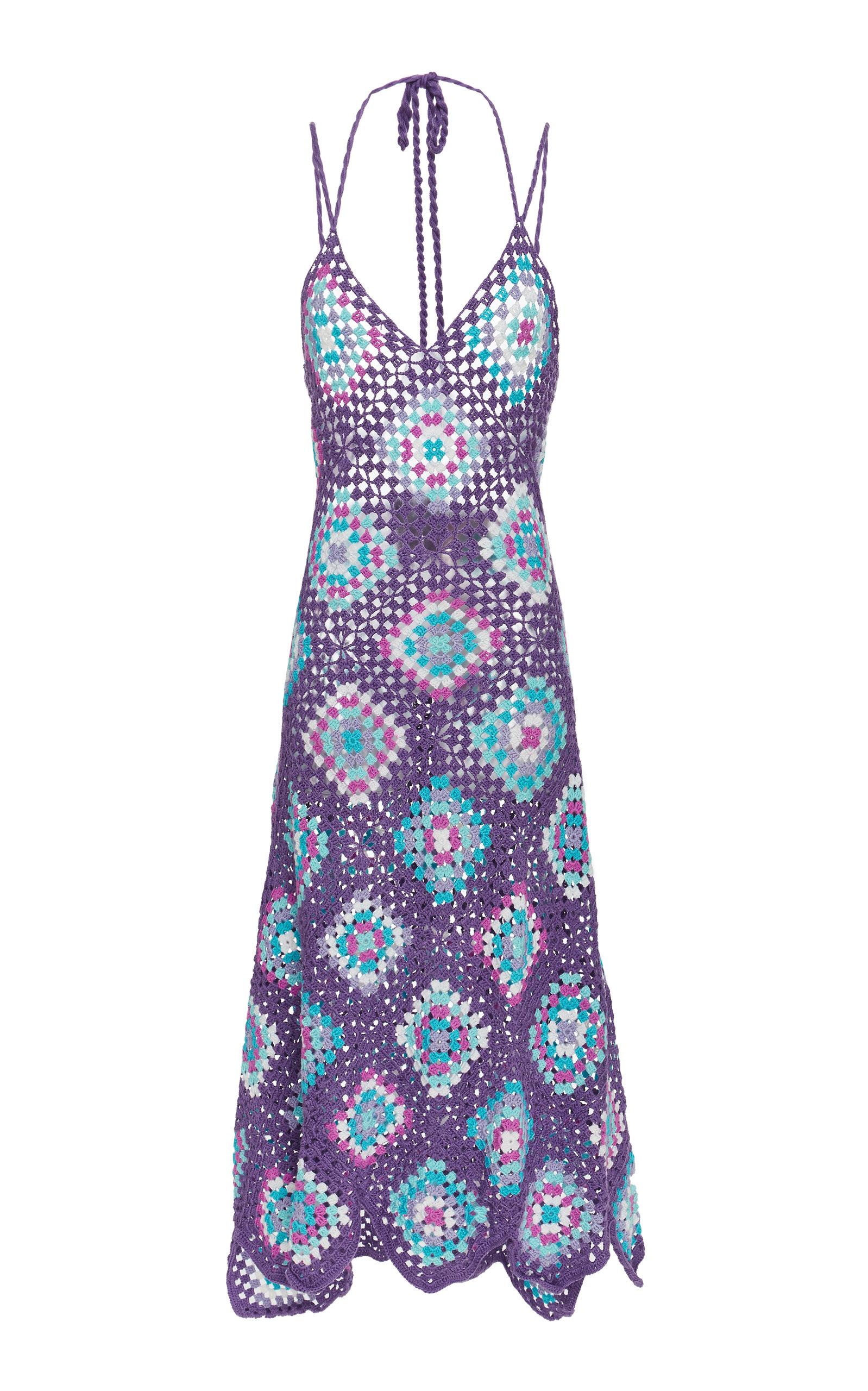 MY BEACHY SIDE Strappy Crochet Maxi Dress in Purple