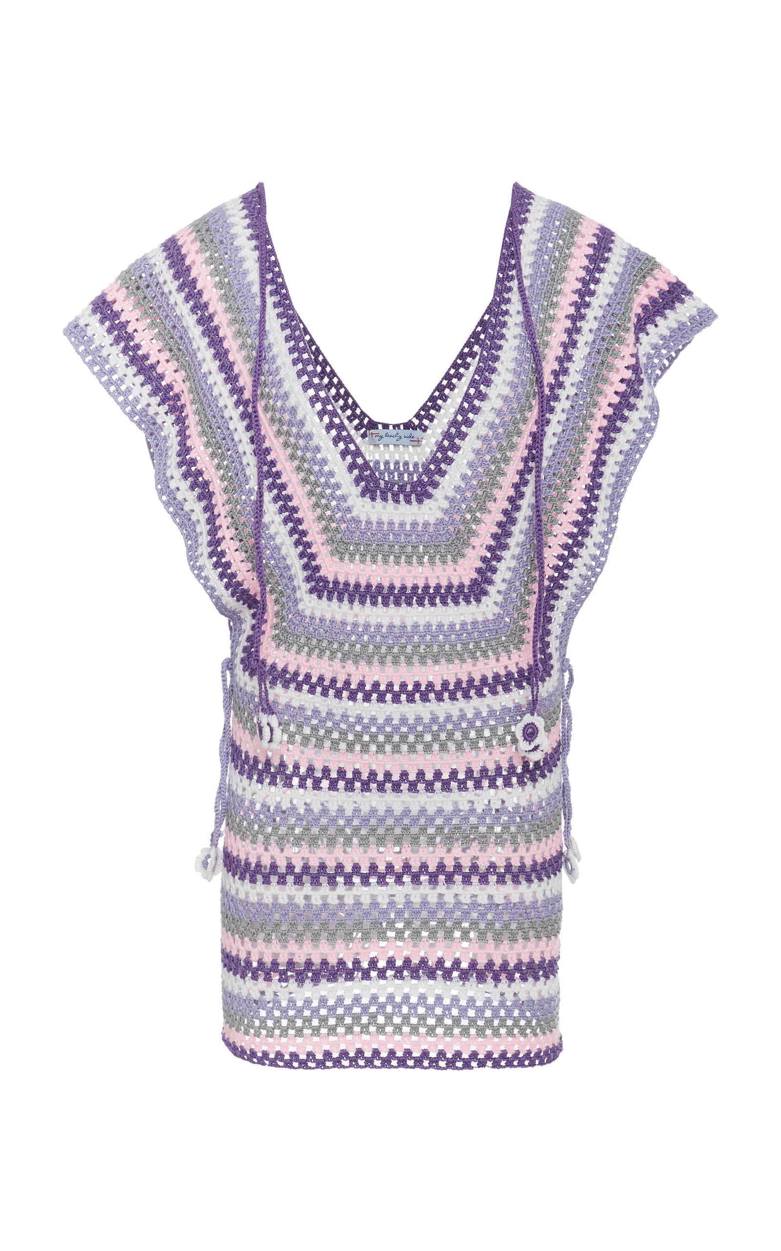 MY BEACHY SIDE Crochet Mini Dress in Stripe