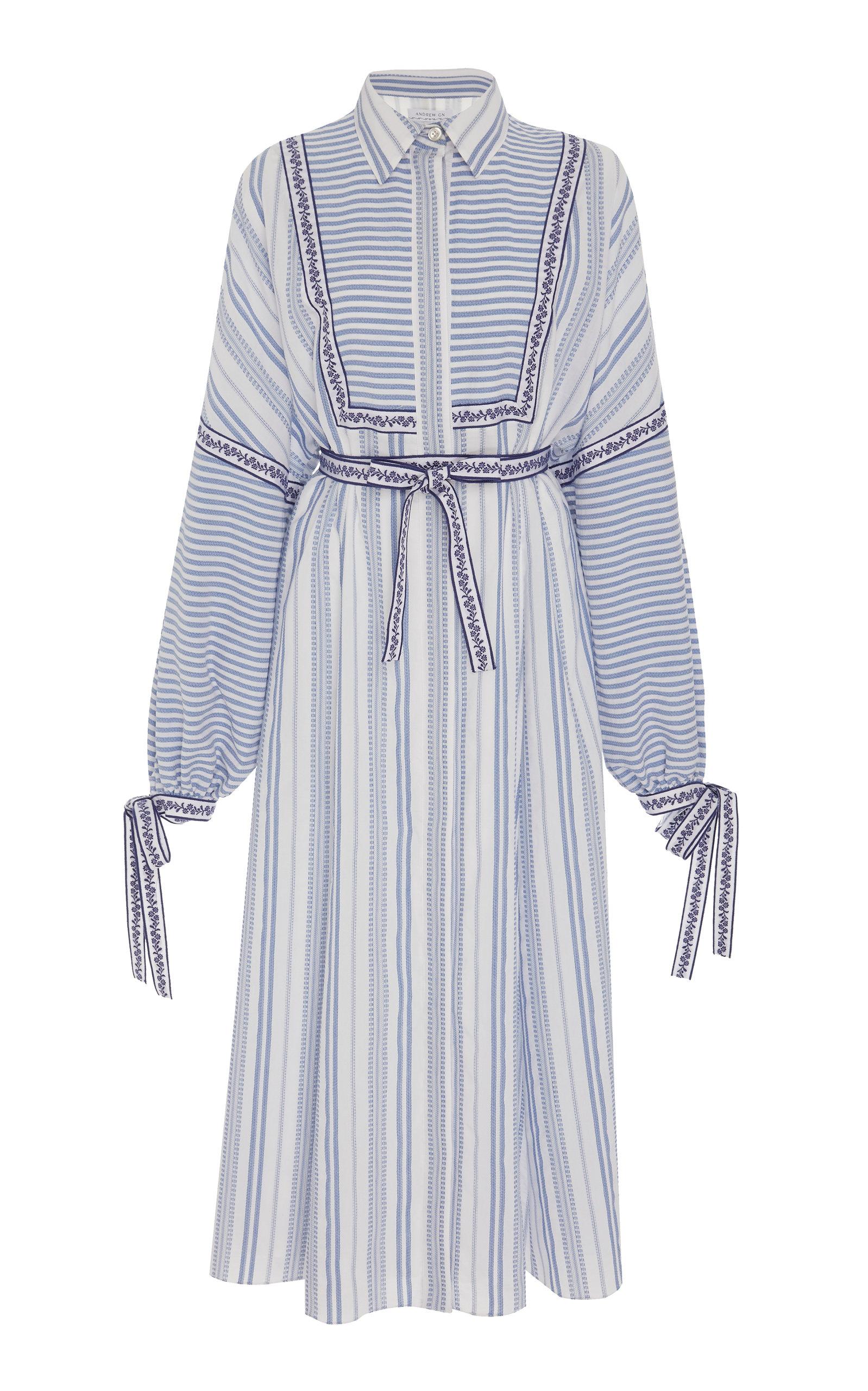 ANDREW GN Long-Sleeve Tie-Waist Striped Dress