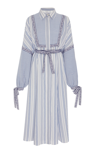ANDREW GN | Andrew Gn Striped Long-Sleeve Midi Dress | Goxip