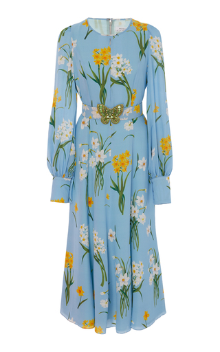 ANDREW GN | Andrew Gn Floral-Print Silk-Georgette Midi Dress | Goxip