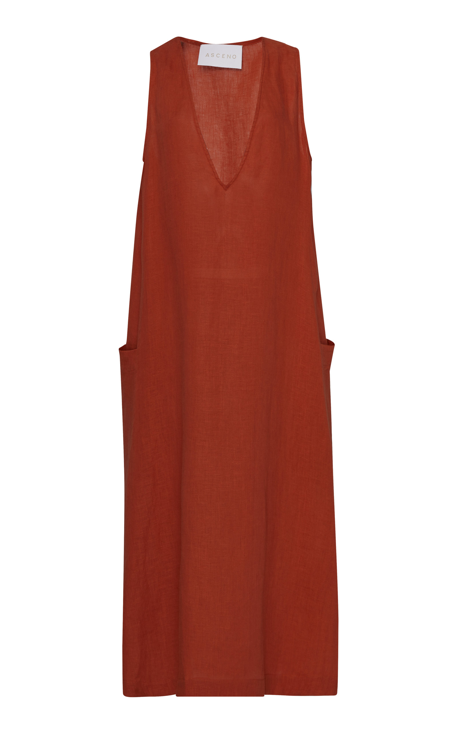 Asceno V-NECK LINEN POCKET MIDI DRESS