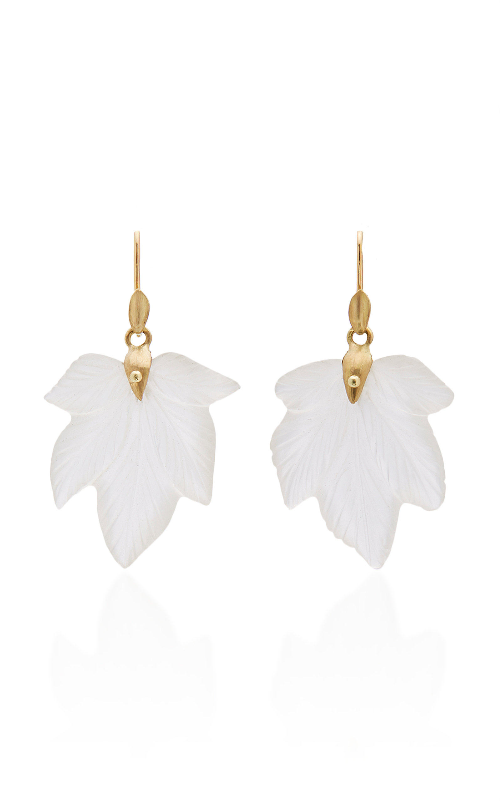 ANNETTE FERDINANDSEN M'O EXCLUSIVE: FROSTED QUARTZ FANCY LEAF EARRINGS