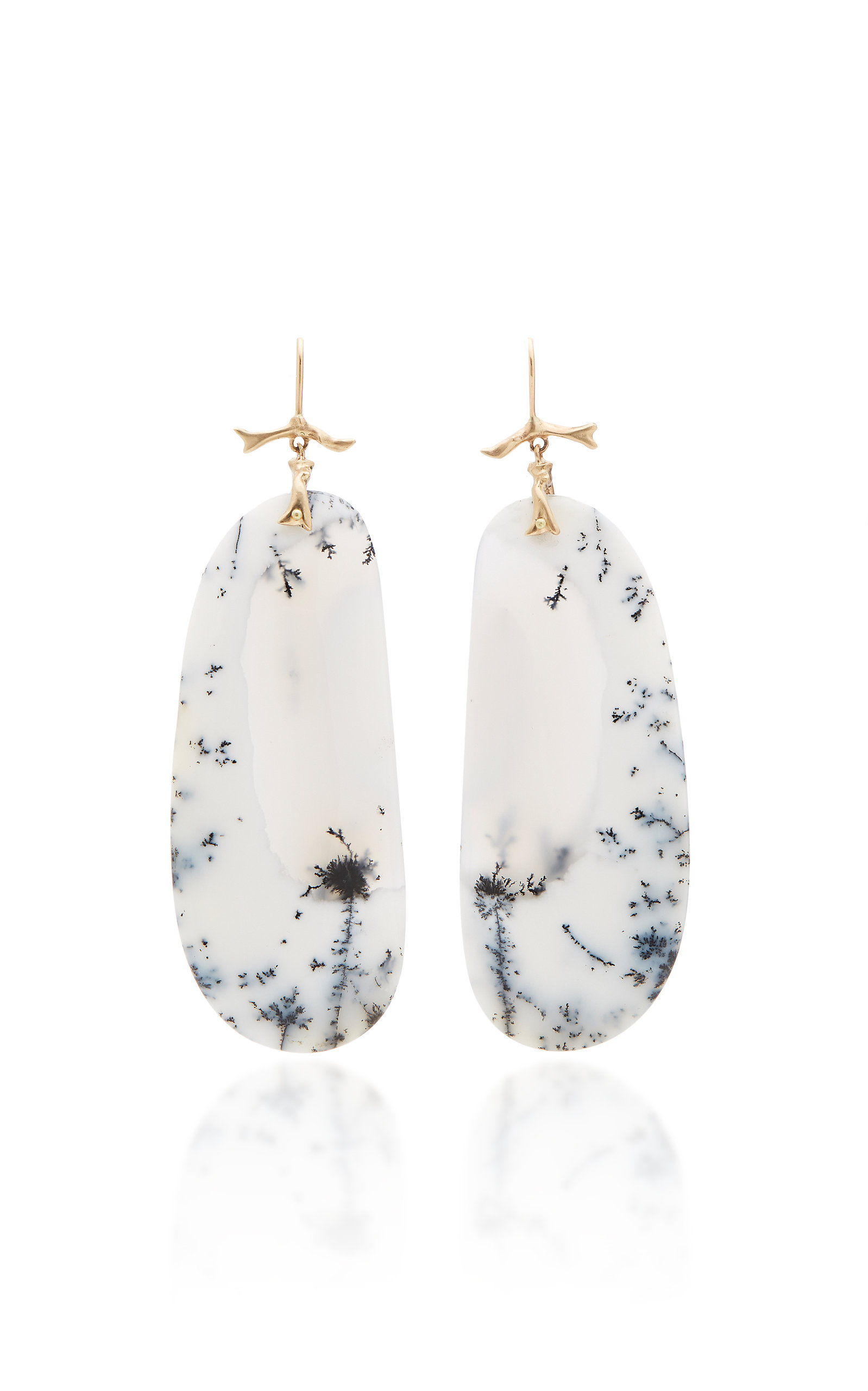ANNETTE FERDINANDSEN M'O EXCLUSIVE: ONE-OF-A-KIND DENDRITIC WHITE OPAL BRANCH EARRINGS