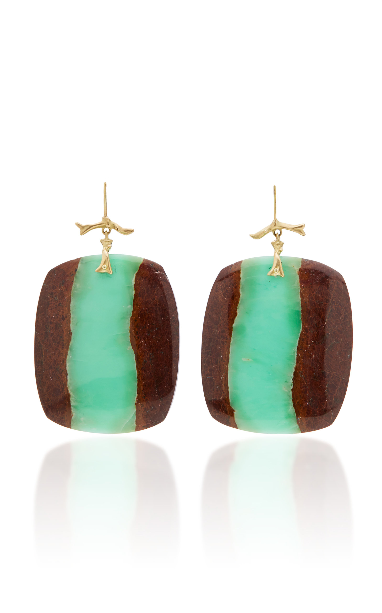 M'O EXCLUSIVE: ONE-OF-A-KIND CHRYSOPRASE MATRIX EARRINGS