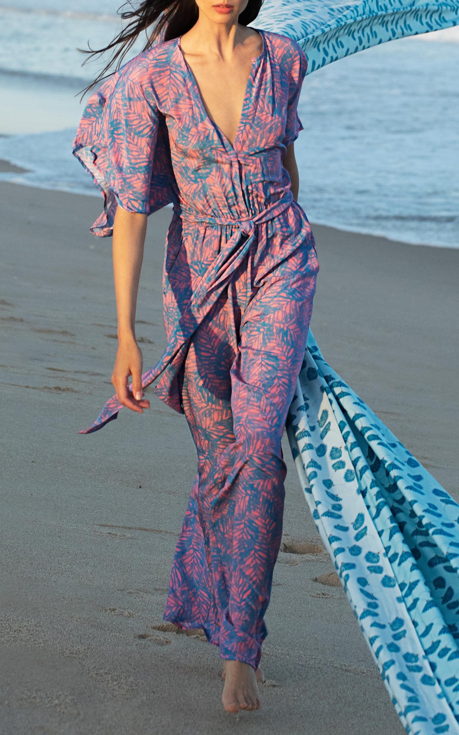 b7259cb39d8 Natasha Feather-Print Wide-Leg Silk Jumpsuit by Jaline