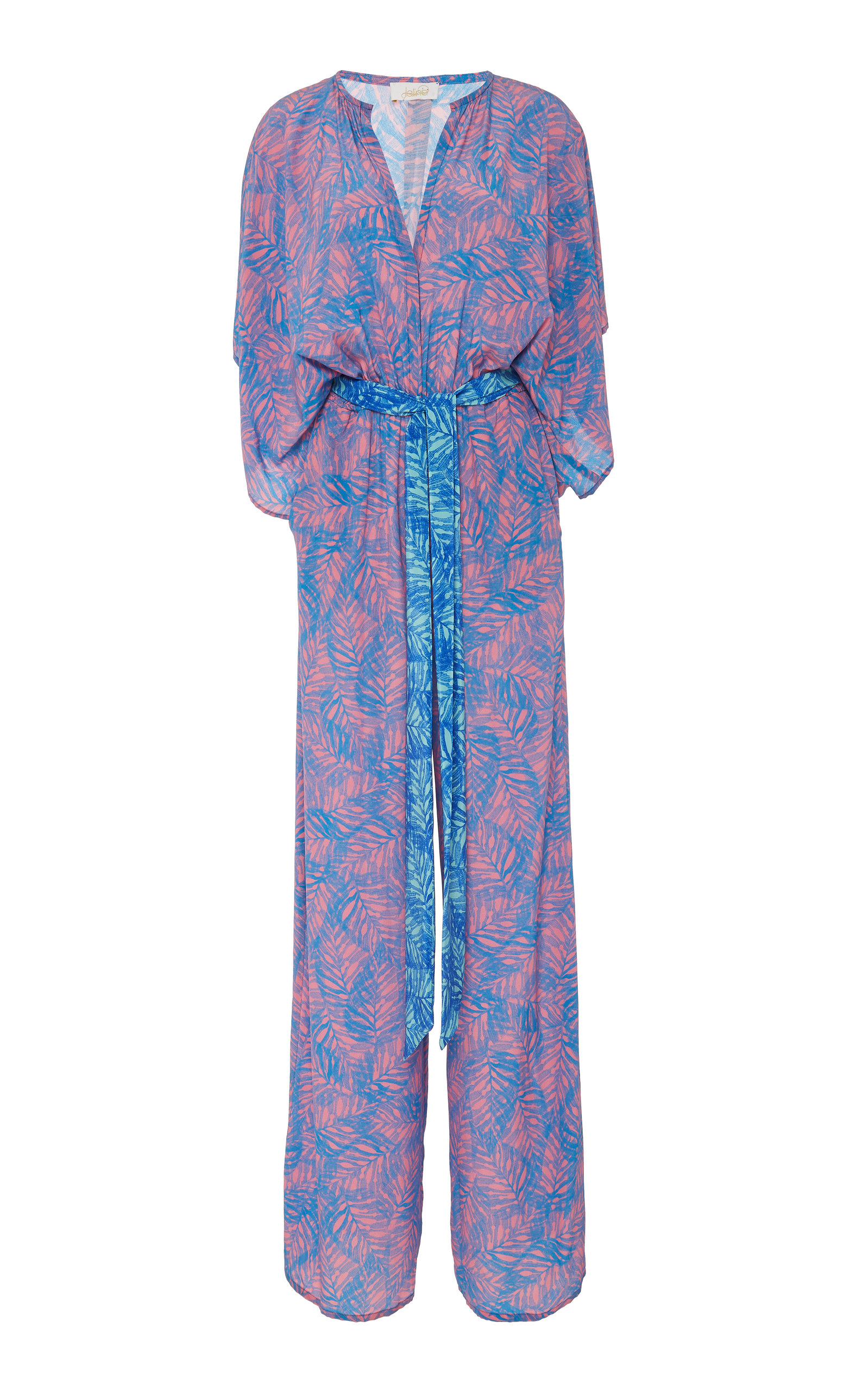 eae22c1b0b1e Jaline Natasha Feather-Print Wide-Leg Silk Jumpsuit