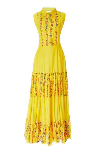 CAROLINA K | Carolina K Nia Pleated Floral Cotton-Blend Maxi Dress | Goxip