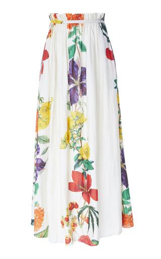 CAROLINA K | Carolina K Gloria Paper Bag Floral Cotton-Blend Maxi Skirt | Goxip