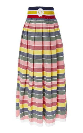 CAROLINA K | Carolina K Santa Clara Rainbow Stripe Cotton-Poplin Midi Skirt | Goxip