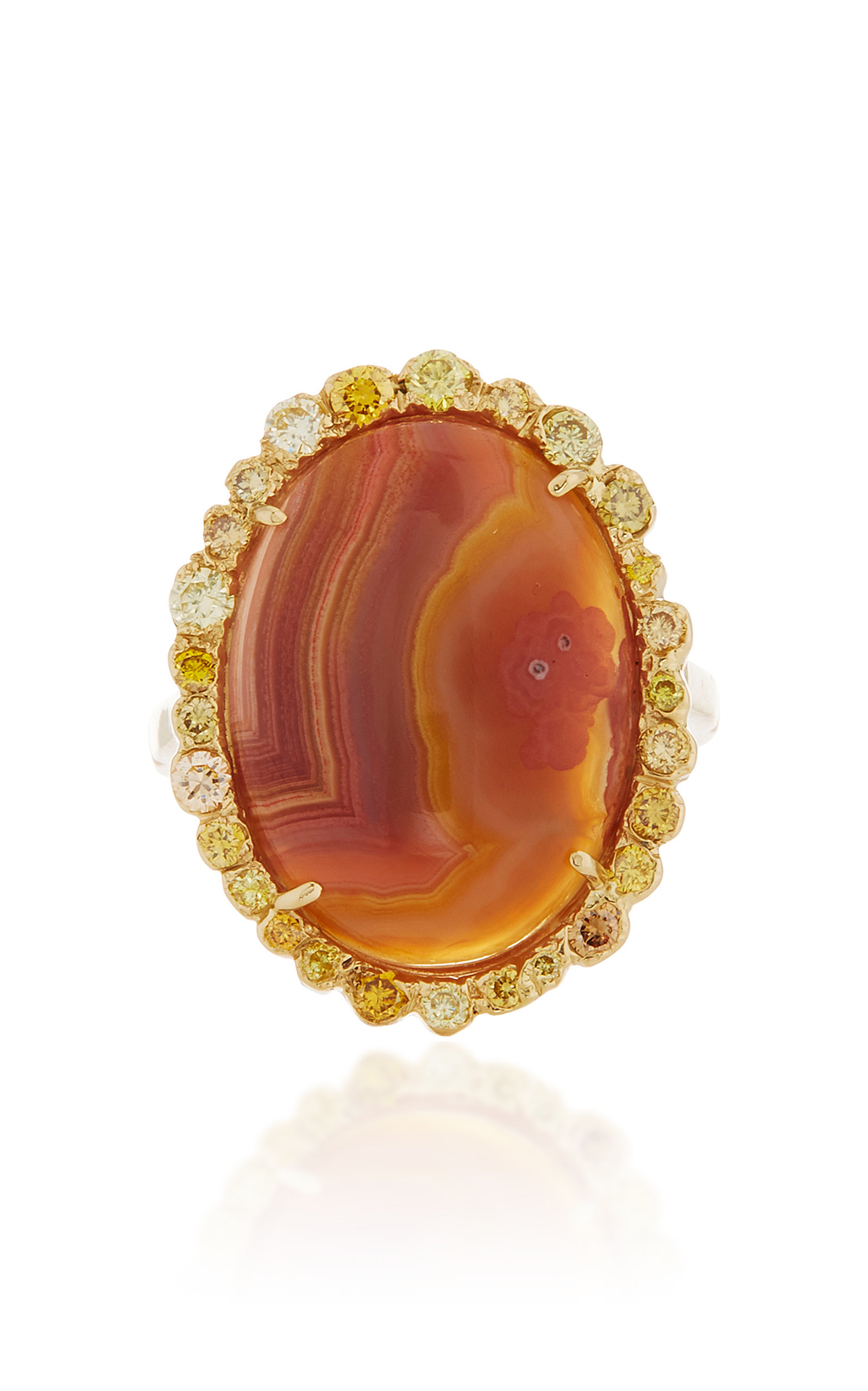 KIMBERLY MCDONALD ONE-OF-A-KIND AGATE RING WITH NATURAL COLORED DIAMONDS SET IN 18K YELLOW GOLD