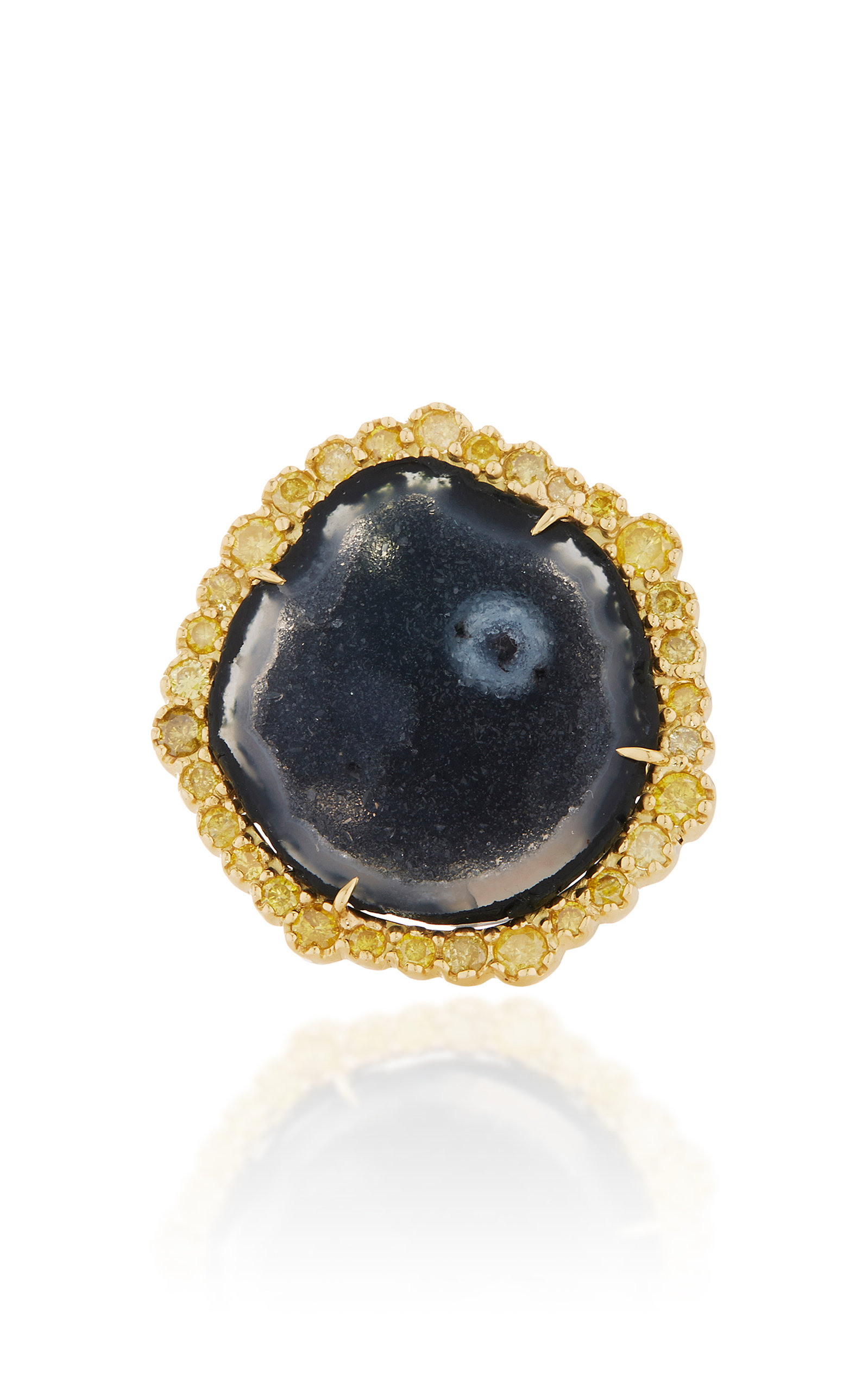 KIMBERLY MCDONALD ONE-OF-A-KIND GEODE RING WITH YELLOW DIAMONDS SET IN 18K YELLOW GOLD