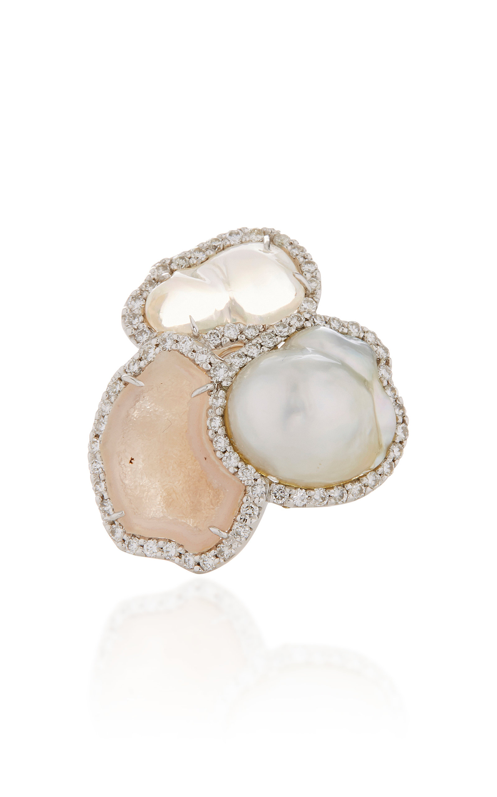 KIMBERLY MCDONALD ONE-OF-A-KIND PINK GEODE BAROQUE PEARL AND MEXICAN WATER OPAL RING WITH DIAMONDS SET IN 18K WHITE GO