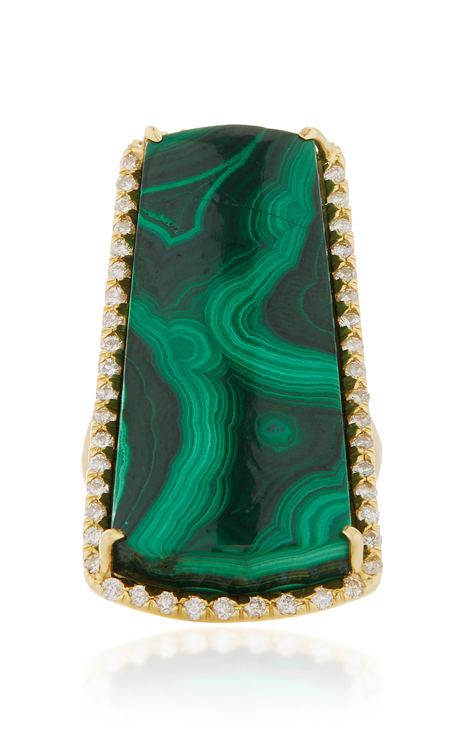 KIMBERLY MCDONALD ONE-OF-A-KIND MALACHITE RING WITH DIAMONDS SET IN 18K YELLOW GOLD