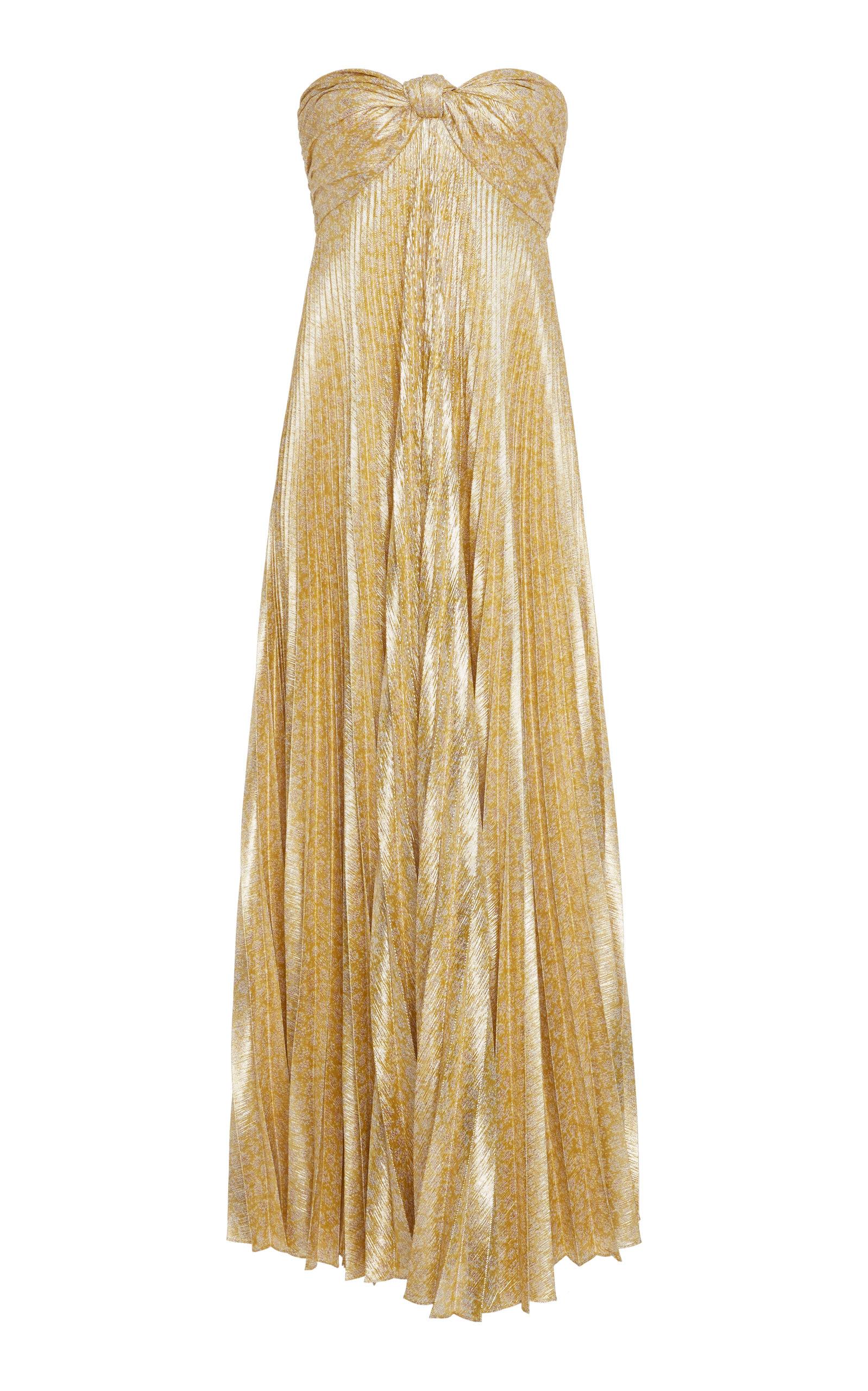 Joya Strapless Sweetheart Lamé Pleated A-Line Dress in Gold Lame