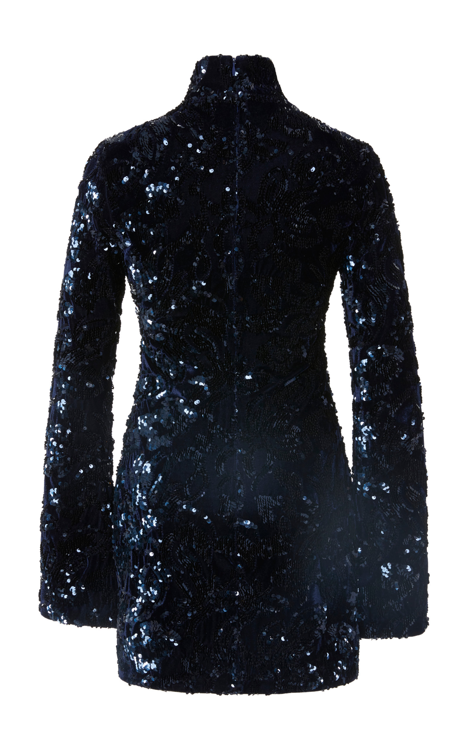 Dress Embellished Rhapsody Alexis Sequin In High Navy Neck Velour XZuOiTwPk