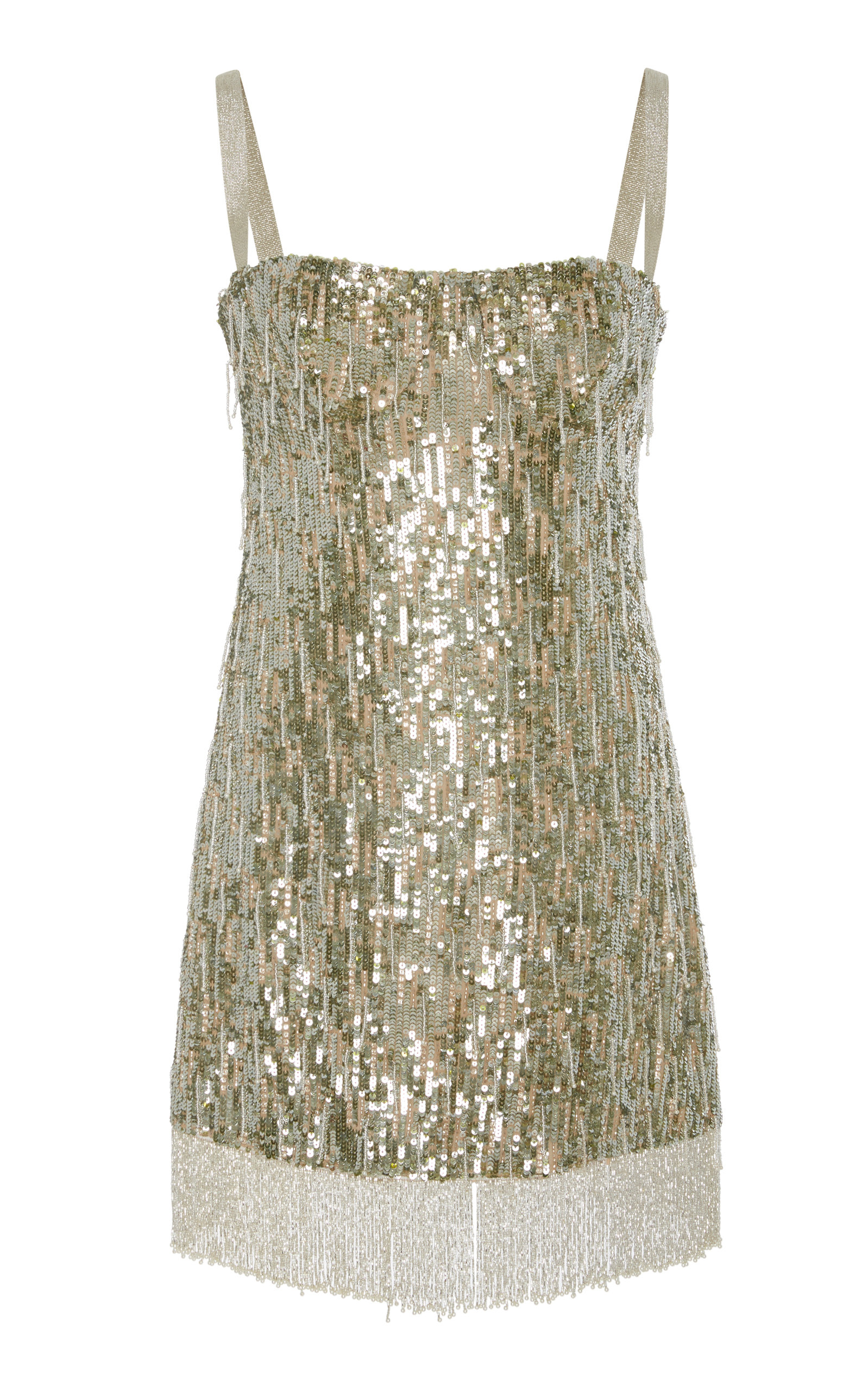 Izabell Sequined Fringe Cocktail Dress in Metallic