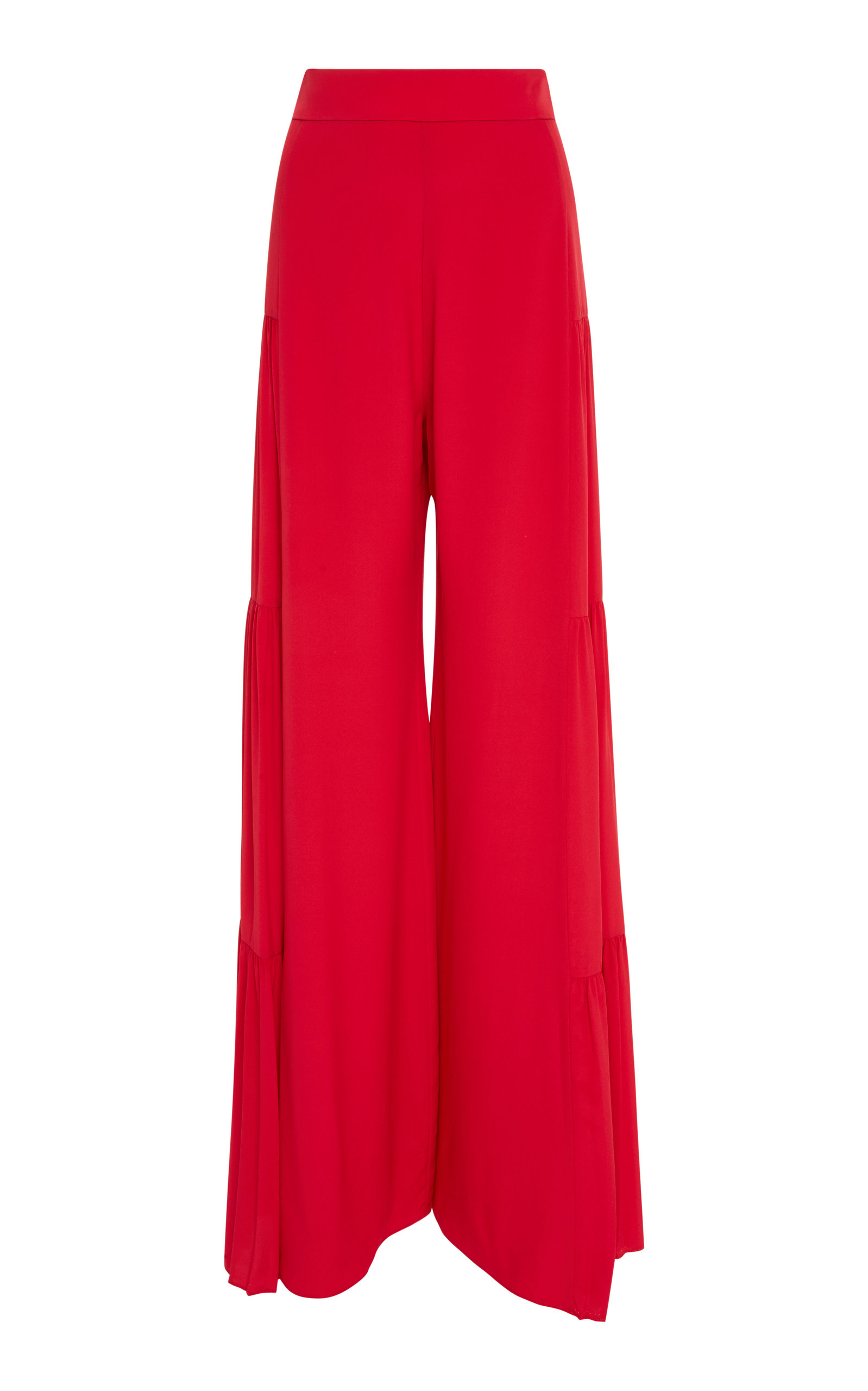 Talley Shirred Wide-Leg Silk Pants in Red