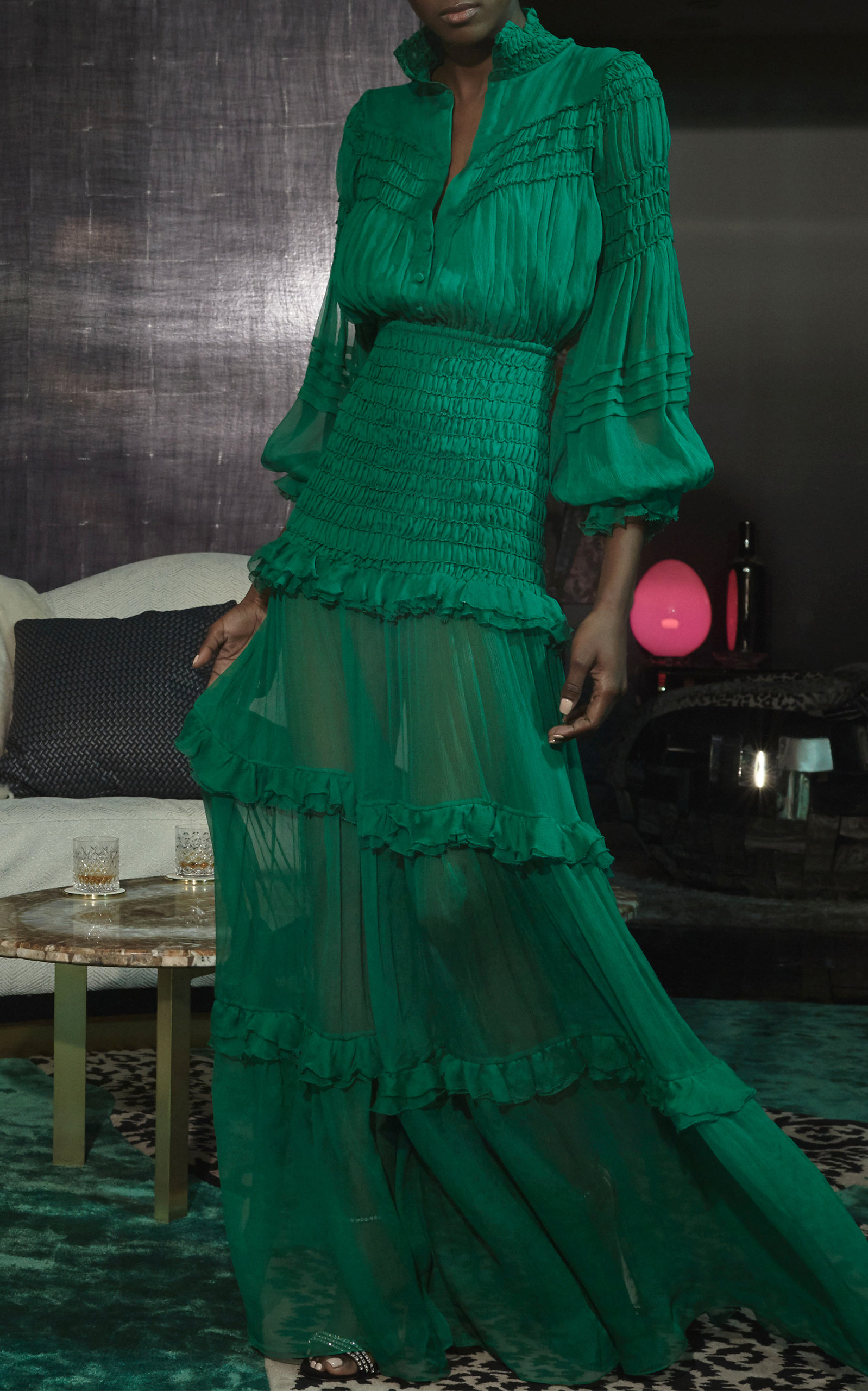 19595e42e6a6 AlexisSinclair Ruffled Silk-Chiffon Maxi Dress. CLOSE. Loading. Loading.  Loading. Loading