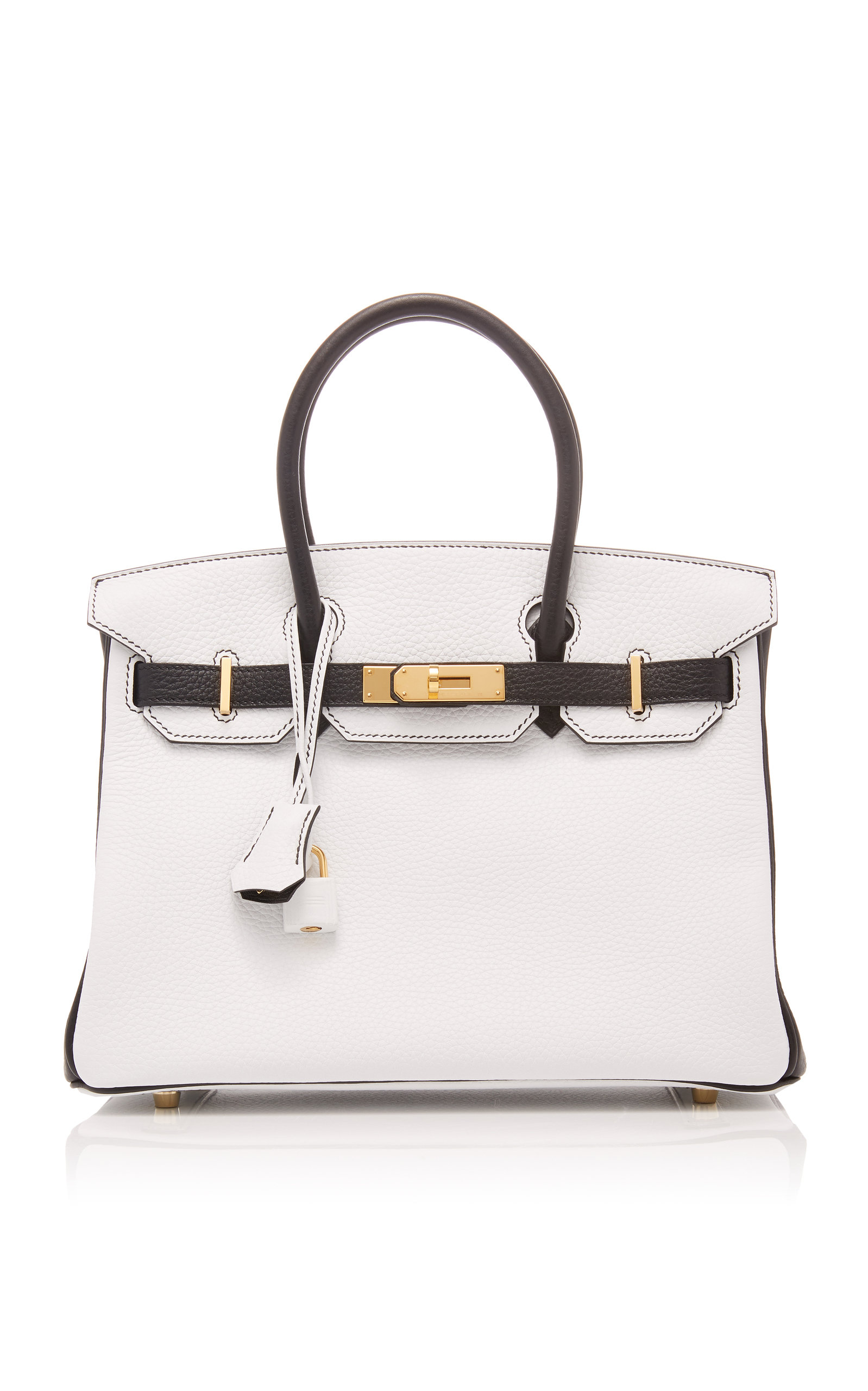 Hermes VintageHermes 30cm White and Black Clemence Leather Special Order  Horseshoe Birkin Bag. CLOSE. Loading ae96e53846f79