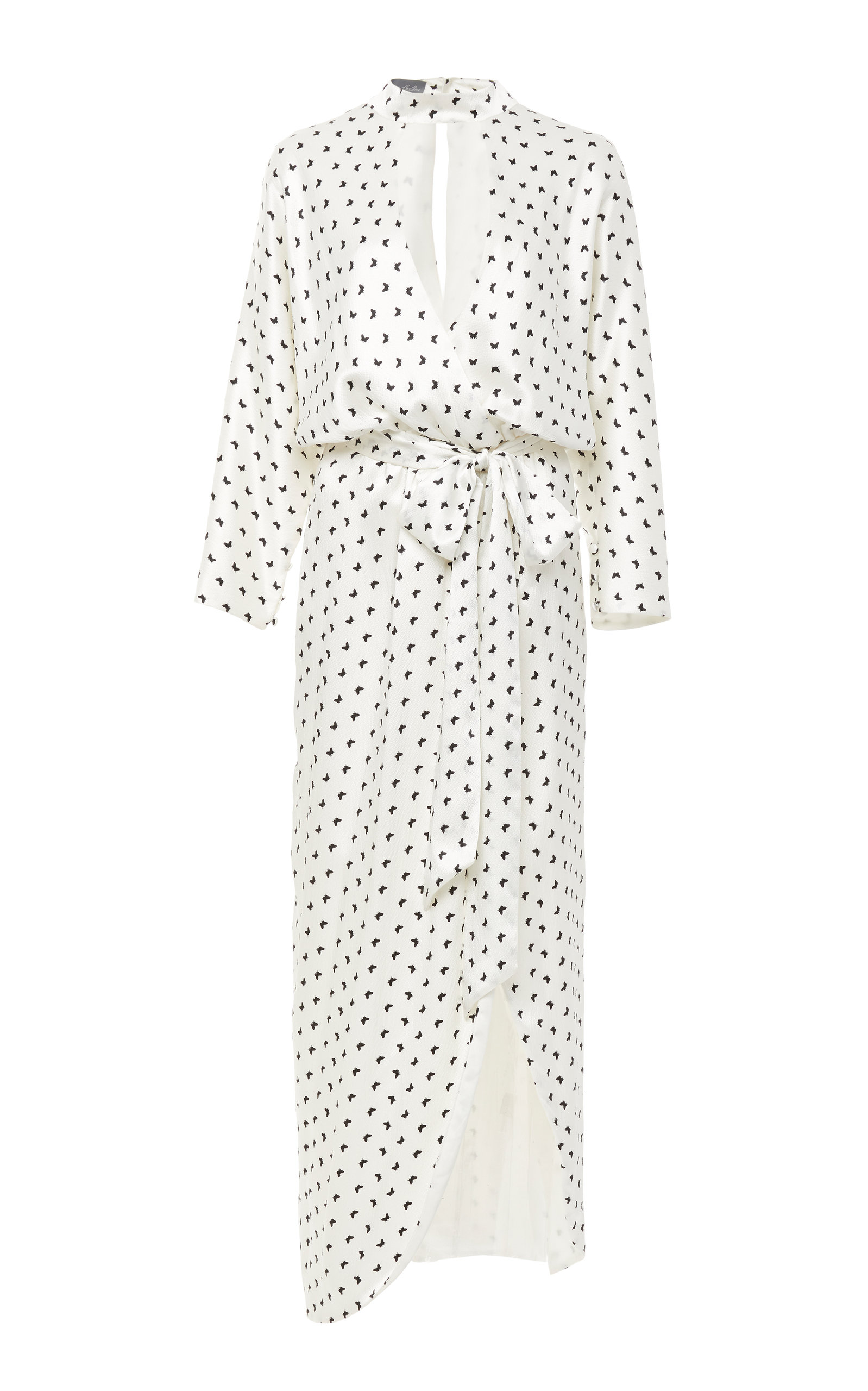 MONIQUE LHUILLIER BUTTERFLY PRINTED SATIN FAUX WRAP DRESS