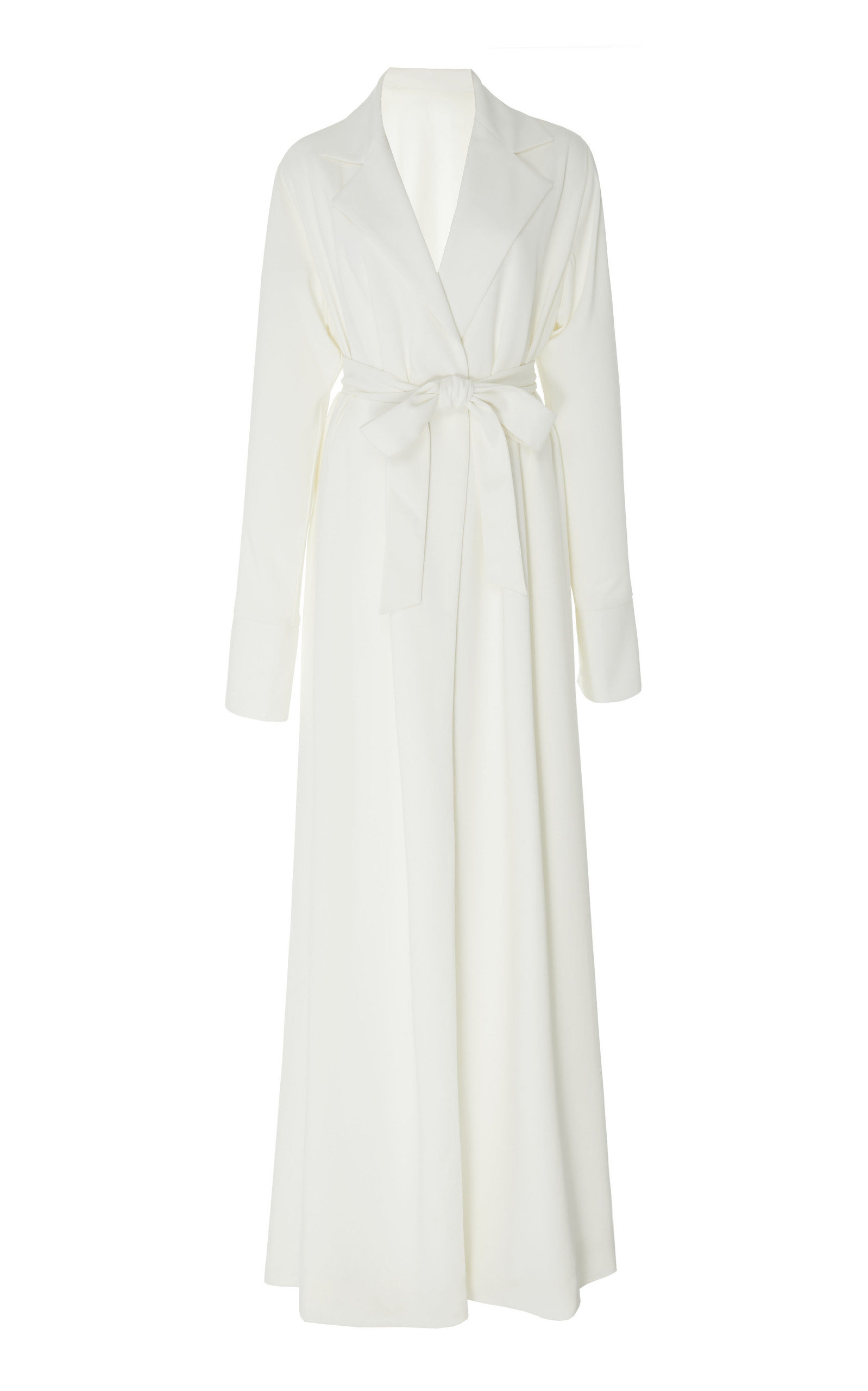 BOUGUESSA Crepe Belted Robe Dress in Ivory