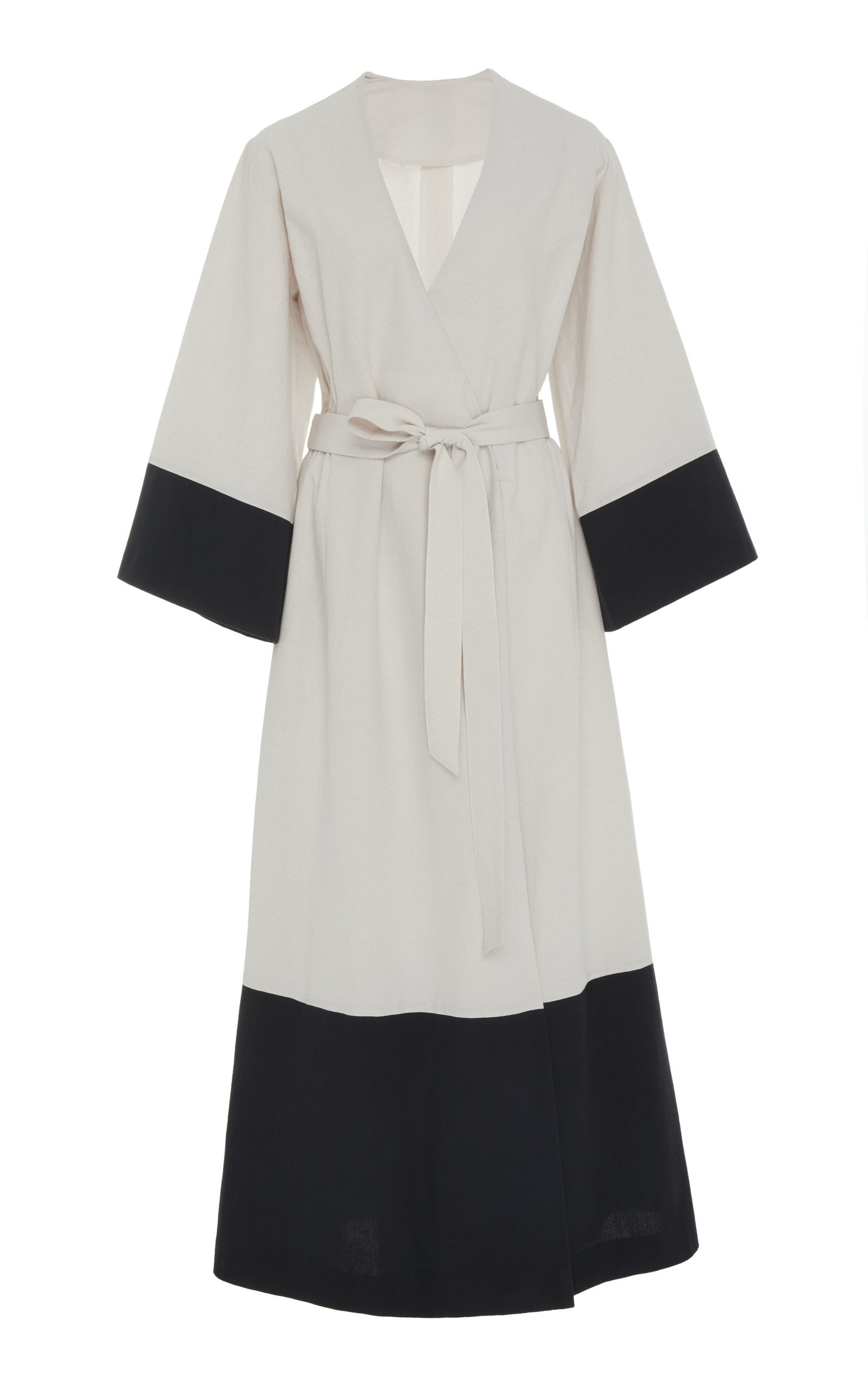 BOUGUESSA CONTRASTED COTTON WRAP DRESS