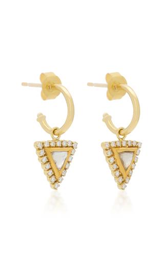 AMRAPALI | Amrapali Kundan 18K Gold Triangle Hoop Earrings | Goxip