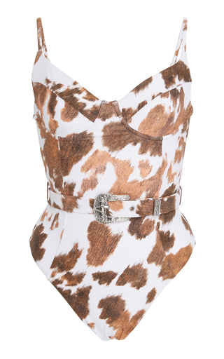 ONIA | Onia + WeWoreWhat Belted Bandana-Print Swimsuit | Goxip