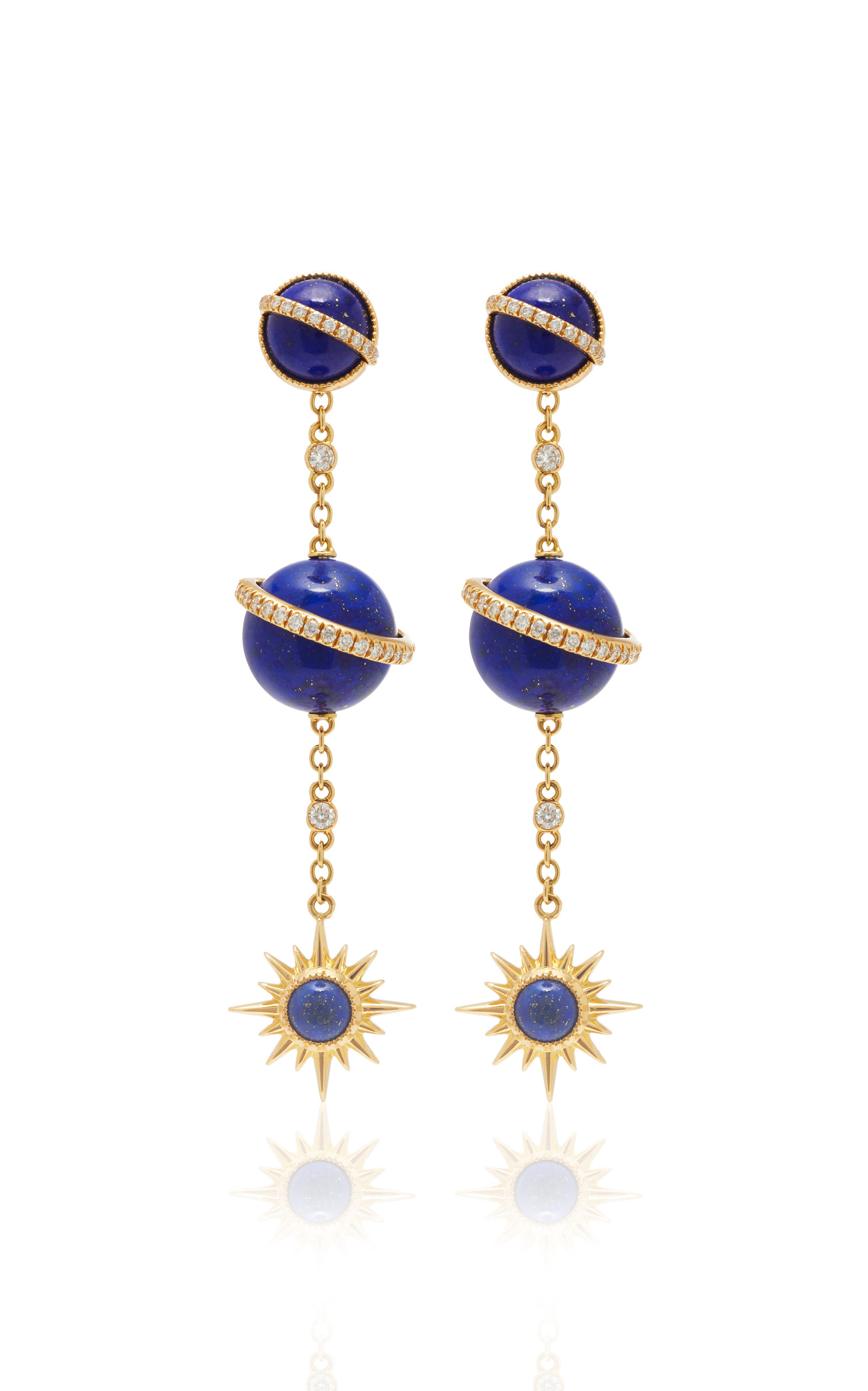 JENNY DEE TAYGETA EARRINGS WITH ELECTRA SPHERICAL EAR CHAIN
