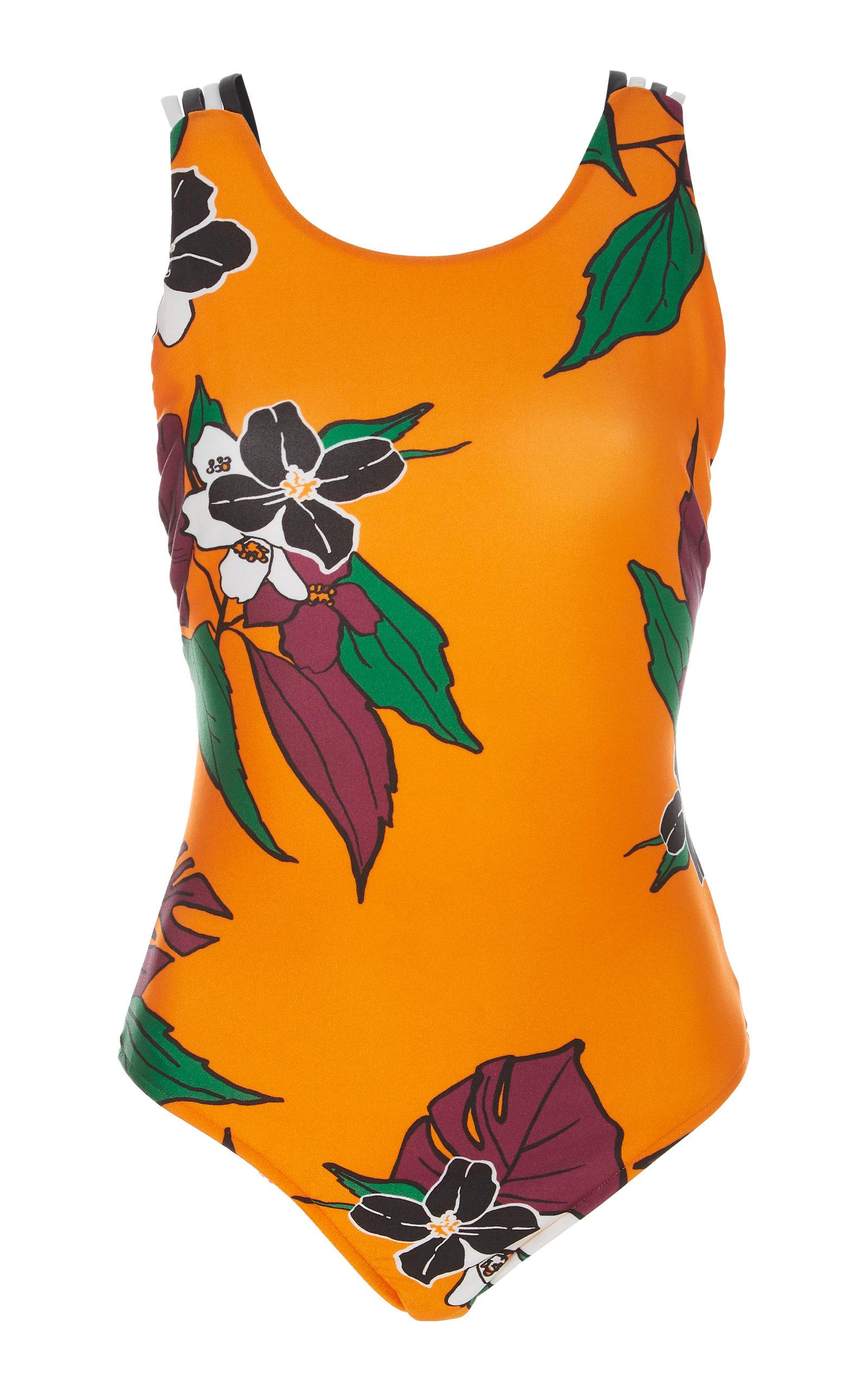 SALINAS Amelia Floral-Print Swimsuit in Orange