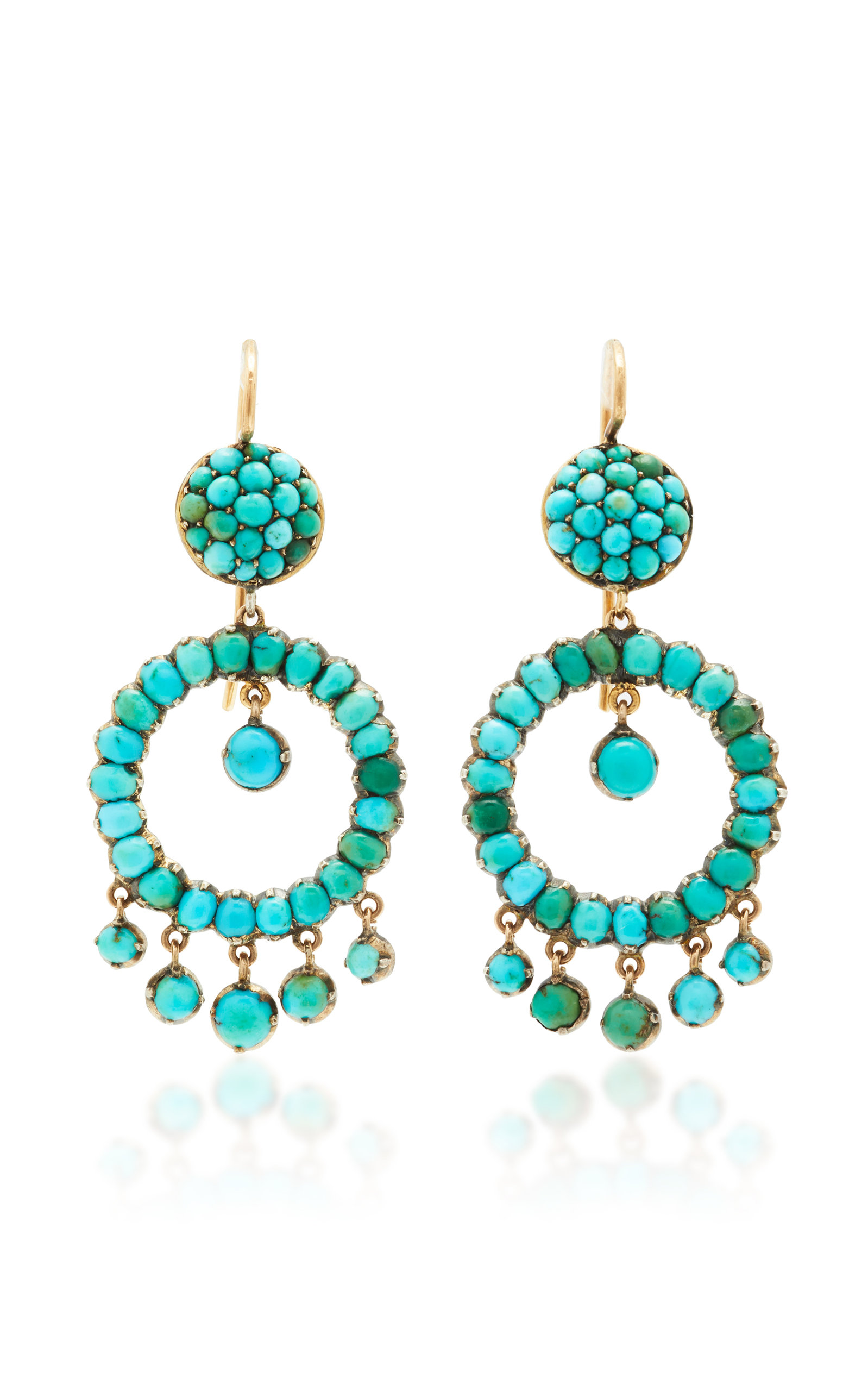 VELA ONE-OF-A-KIND VICTORIAN TURQUOISE PAVE EARRINGS