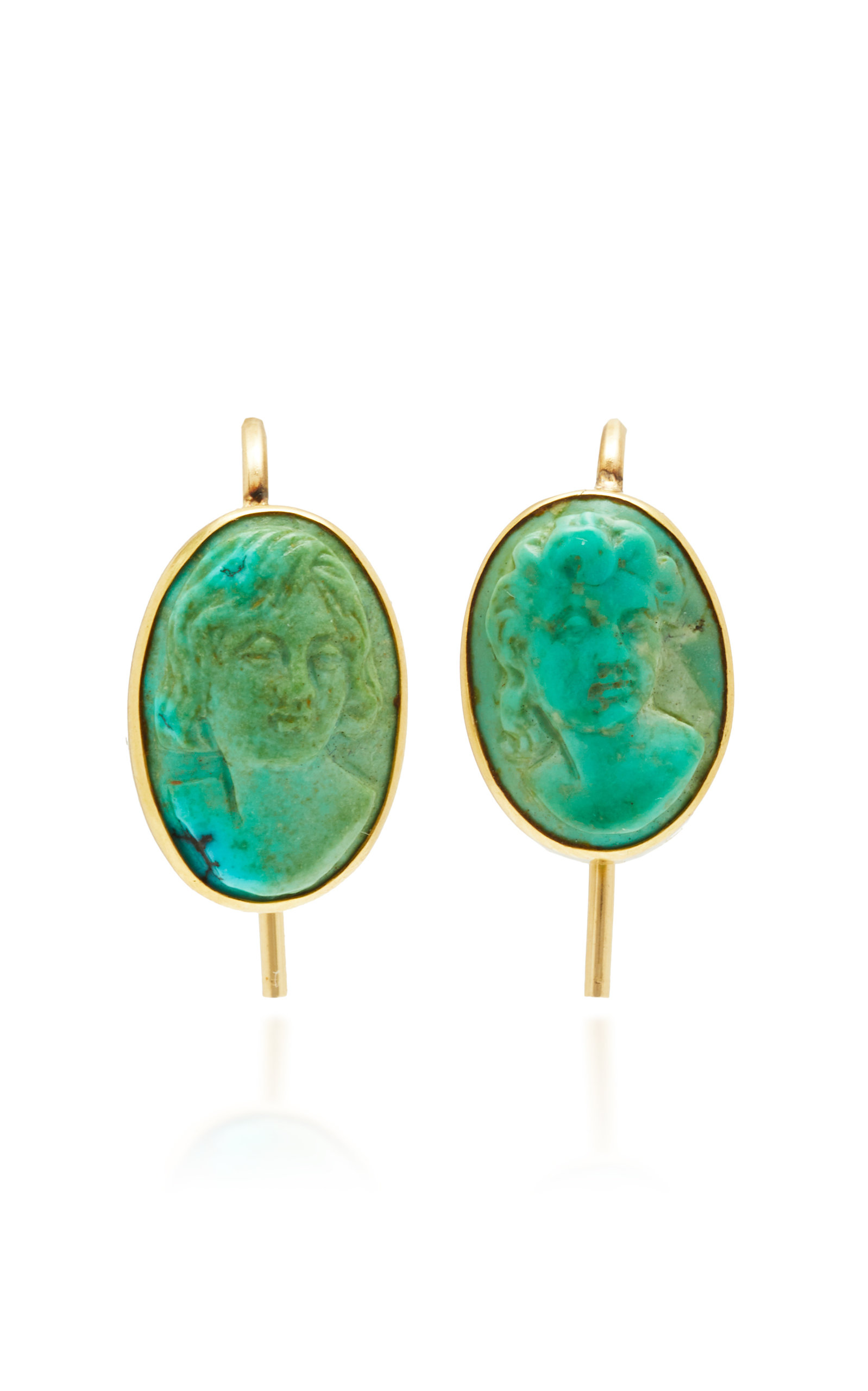 VELA ONE-OF-A-KIND VICTORIAN TURQUOISE CAMEO EARRINGS