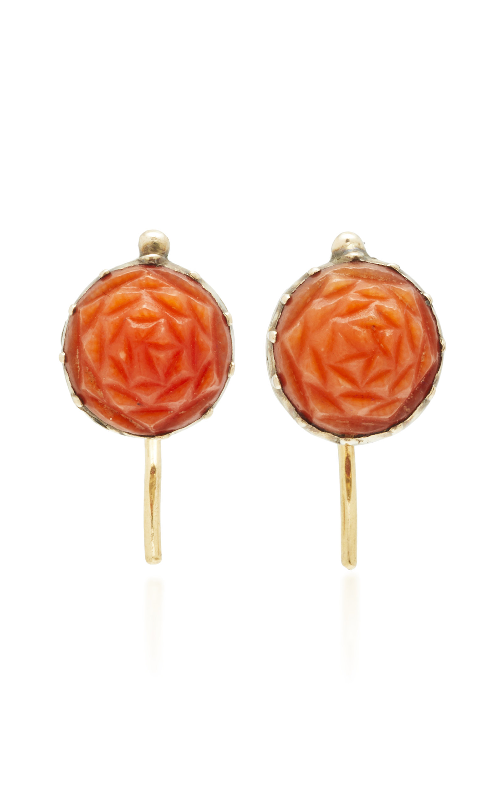 VELA ONE-OF-A-KIND GEORGIAN CARVED CORAL ROSE EARRINGS