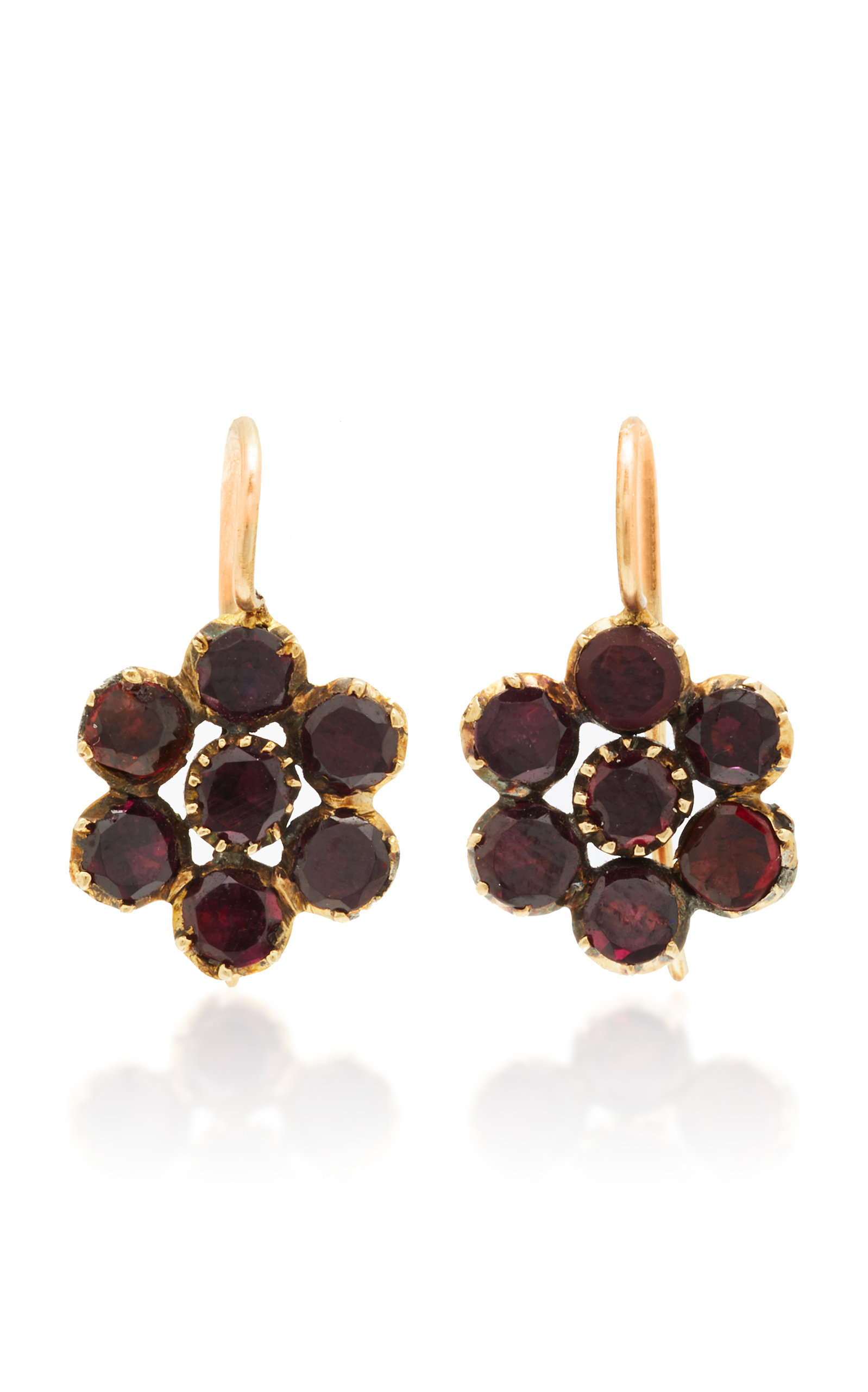 VELA ONE-OF-A-KIND GEORGIAN GARNET PANSY EARRINGS