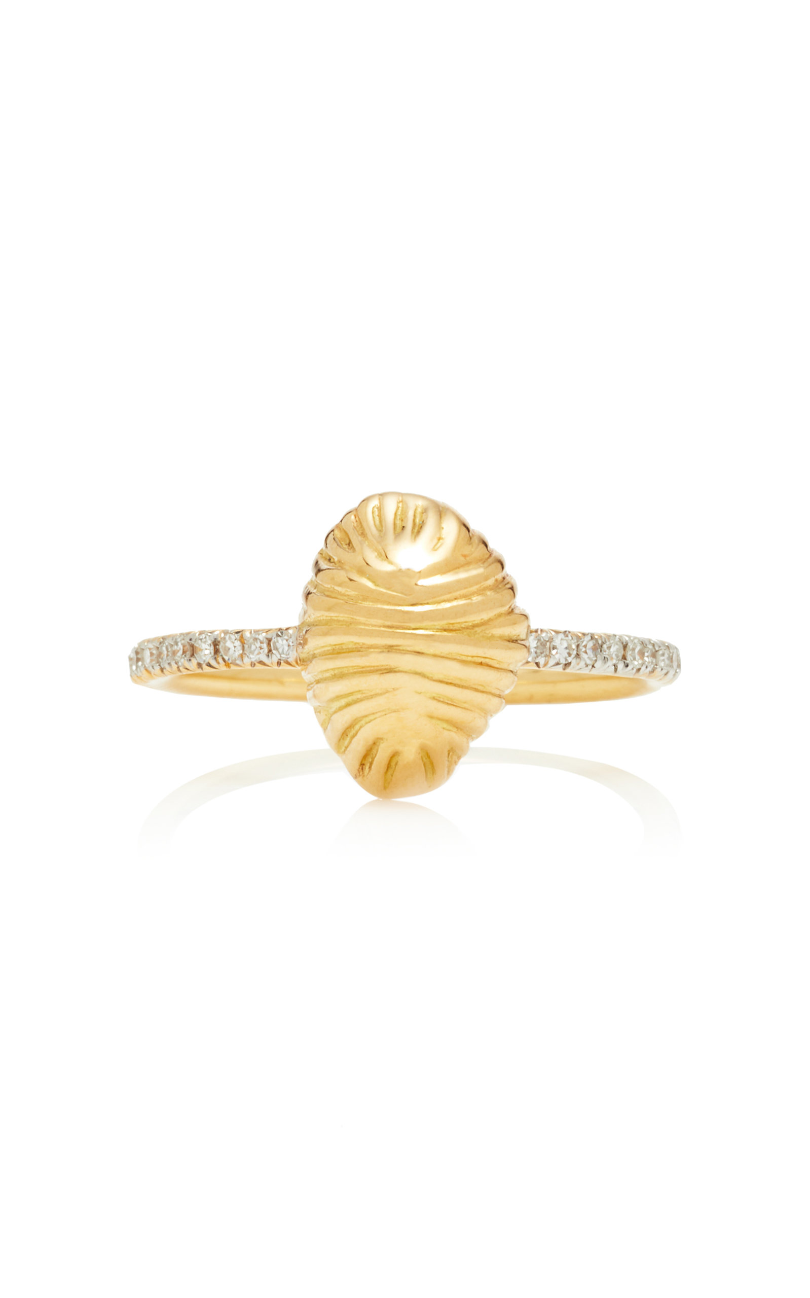 RENNA SMALL THREAD AND SHELL DIAMOND RING
