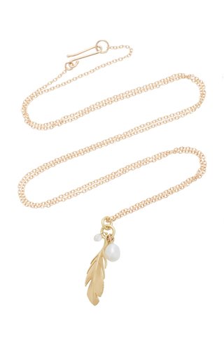 ANNETTE FERDINANDSEN | Annette Ferdinandsen Feather 18K Gold And Diamond Pendant Necklace | Goxip