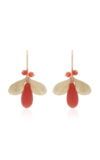 ANNETTE FERDINANDSEN | Annette Ferdinandsen Jeweled Bugs 14K Gold And Coral Drop Earrings | Goxip