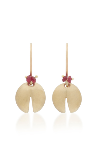 ANNETTE FERDINANDSEN | Annette Ferdinandsen Jeweled Ladybugs 18K Gold And Ruby Drop Earrings | Goxip