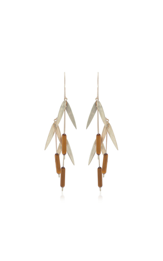 ANNETTE FERDINANDSEN | Annette Ferdinandsen Cat Tail Clusters 14K Gold And Tiger Eye Earrings | Goxip