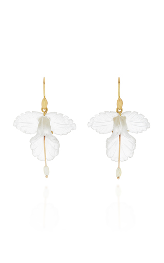 ANNETTE FERDINANDSEN | Annette Ferdinandsen 18K Gold Quartz And Pearl Orchid Earrings | Goxip