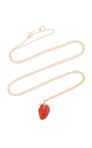 ANNETTE FERDINANDSEN | Annette Ferdinandsen Strawberry 18K Gold And Coral Pendant Necklace | Goxip