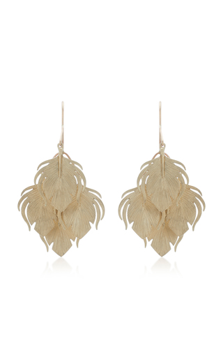 ANNETTE FERDINANDSEN | Annette Ferdinandsen Peacock Feather Clusters 14K Gold Drop Earrings | Goxip