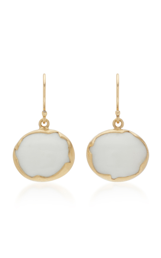 ANNETTE FERDINANDSEN | Annette Ferdinandsen Egg 18K Gold And White Coral Drop Earrings | Goxip