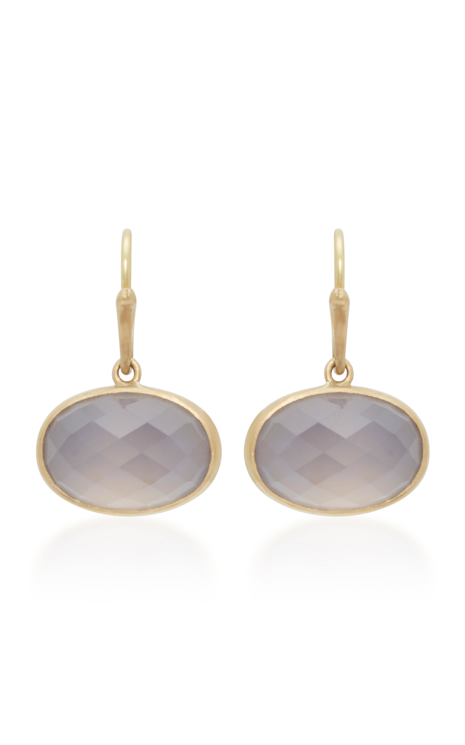 Annette Ferdinandsen 18k Gold Chalcedony Earrings In Purple