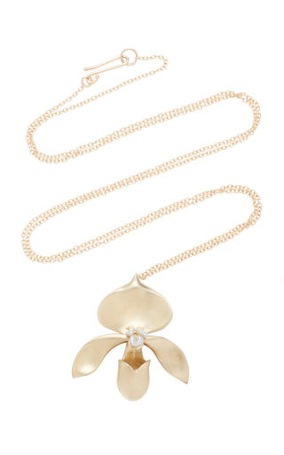 ANNETTE FERDINANDSEN | Annette Ferdinandsen Lady Slipper 14K Gold And Keshi Pearl Pendant Necklace | Goxip