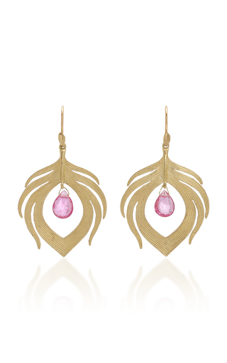 ANNETTE FERDINANDSEN | Annette Ferdinandsen Peacock Feathers 14K Gold And Rubellite Drop Earrings | Goxip